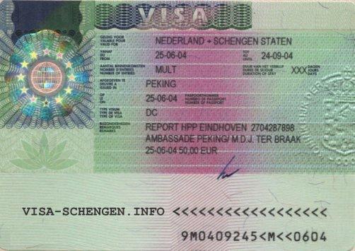Exemple de visa shengen